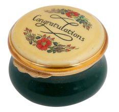 Congratulation Green Floral Painted Porcelain Box