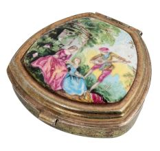 English Folk Tale Hand painted Copper Trinket Box With Enamel
