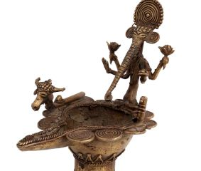 Dhokra Brass Ganpati Nandi Head Oil Lamp