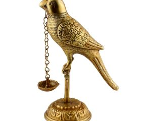 Hindu Ritual Brass Parrot On A Branch Oil Lamp