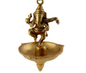 Brass Lord Ganesha With Hanging Lamp Or Diya