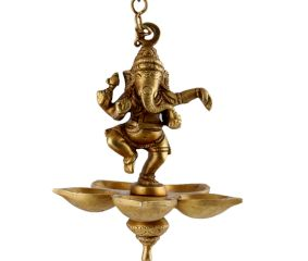 Brass Lord Ganesha Four Wicks Hanging Lamp Or Diya