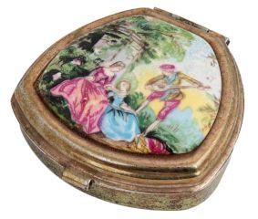 English Folk Tale Hand painted Copper Trinket Box With Enamel