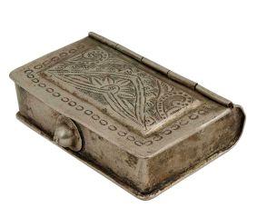 Unique Book Shaped White Metal Multi Storage Box