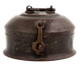 Brass Round Vintage Jali Top And Latch Jewelry Box
