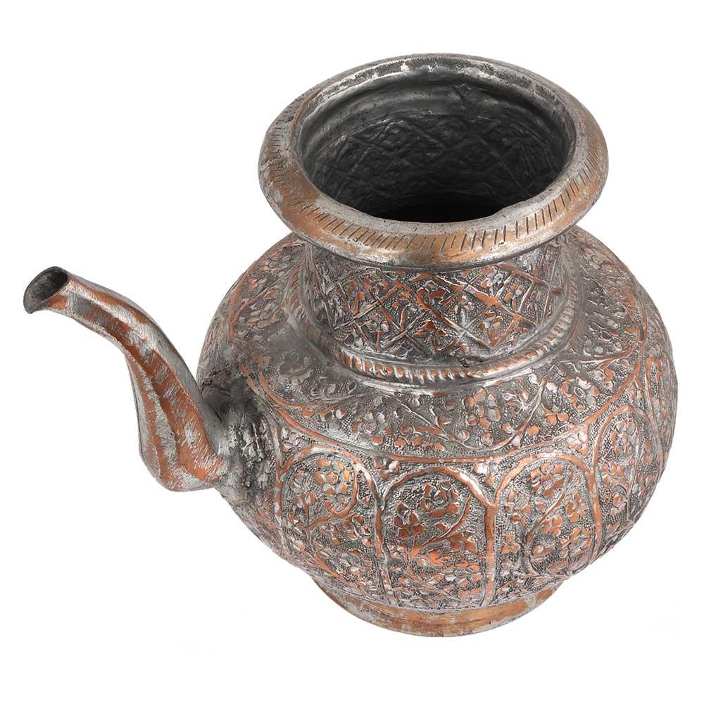 Copper Tea Pot  Floral Design Engraved Pot With Spout