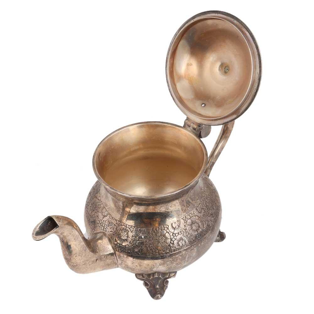 Brass Tea Pot Silver Polish Rare And Unique Floral Design