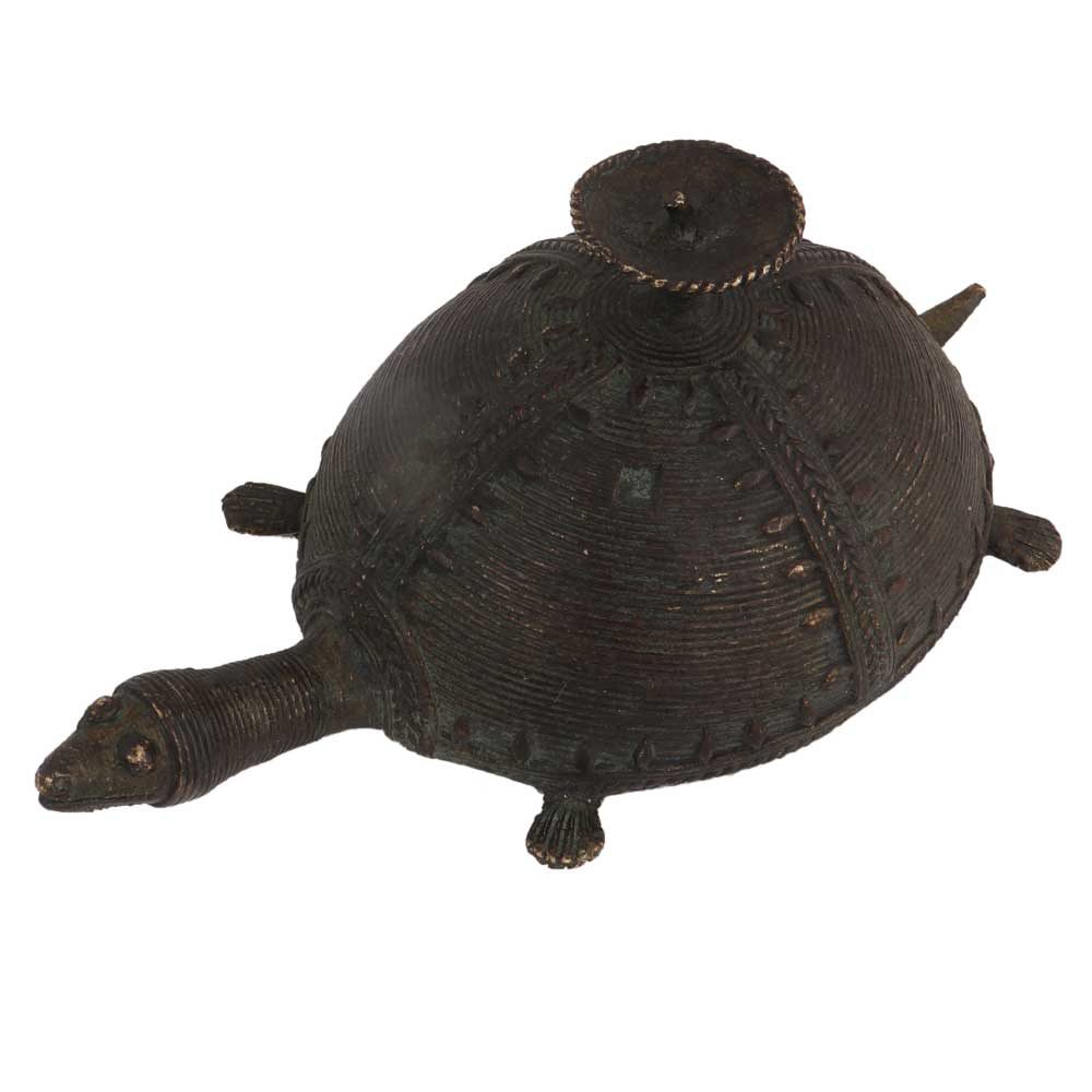 Brass Dhokra Turtle Candle Stand
