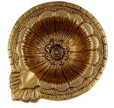 Brass Flower Engraved Diya Oil Lamp