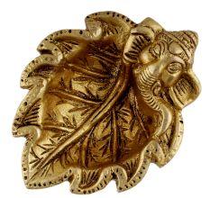 Brass Ganpati On Leaf Ritual Oil Lamp