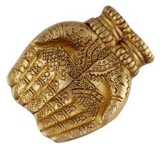 Engraved Design Two Hands Brass Diya Oil Lamp