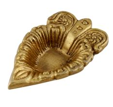 Brass Leaf Oil Lamp with Intricate Design