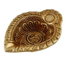 Intricate Leaf Shaped Diwali Decoration Diya