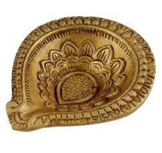 Brass Flower Engraved Oil Lamp Diwali Gift