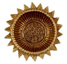 Brass Oil Lamp Round Sun Flower Shaped Deepak