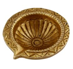 Tribal Design Round Brass Oil Lamp Diya