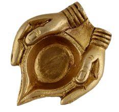 Brass Lady Hand Holding Oil Lamp Diya