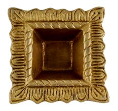 Brass Engraved Square Oil Lamp Diya