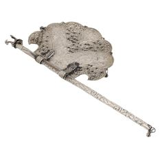 Brass Pankhi Indian Fan With Peacock Charm On Handle