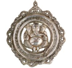 Brass Ganesha In Round Decorative Frame With Silver Finish