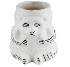 White Ceramic Hand Painted Lion Face Flower Pot