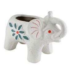 White Ceramic Elephant Trunk Up Planter