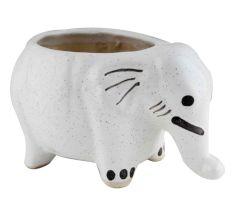 Ceramic White Round Elephant Planter Pot