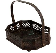 Brass Floral Bucket Eight Sided Jali Work