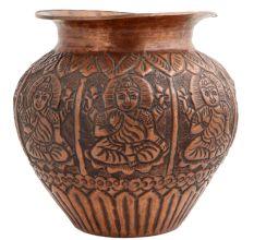 Copper Pot Engraved Goddess From Bihar