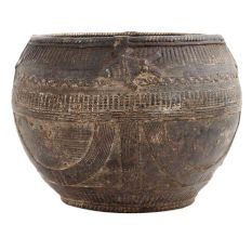 Hand Engraved Brass Rice Measuring Pot From Orissa
