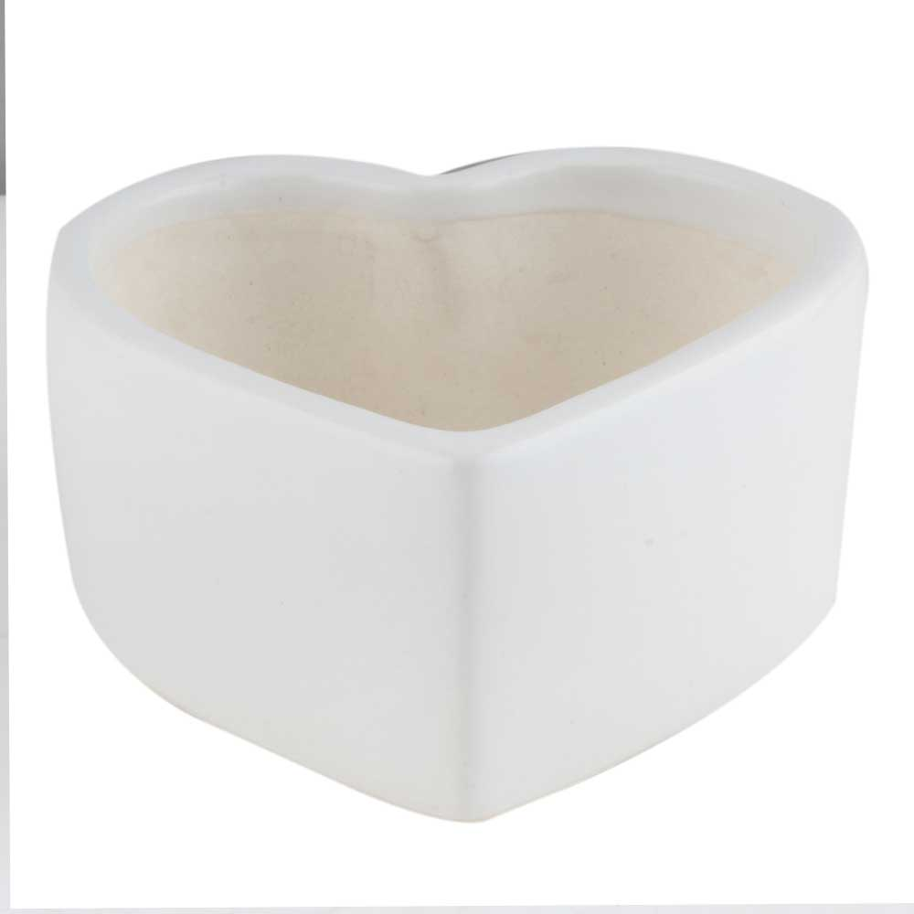 White Ceramic Heart Shaped Planter Pot