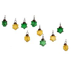 Green Yellow Star Combo Glass Tiny Christmas Hanging Set of 25