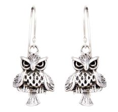 92.5 Sterling Silver Owl Drop & Dangle Earring