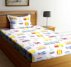SWHF Chic Home Kids 180 TC Cotton Single Bedsheet with One Pillow Covers (Transport)