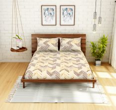 Spaces 104 TC Cotton Double Bed Sheet with 2 Pillow Covers In Brown