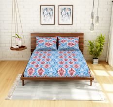 Spaces 104 TC Cotton Double Bed Sheet with 2 Pillow Covers