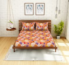 Spaces 104 TC Cotton Double Bed Sheet with 2 Pillow Covers In Orange