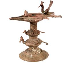 Traditional Peacock Oil lamp Dhokra Metal Tribal Art