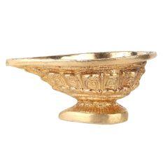Brass Kuber Diya Leaves Engraved Worship Lamp