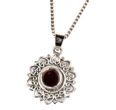 Garnet Stone Embeded 92.5Sterling Silver Pendant Jewelry