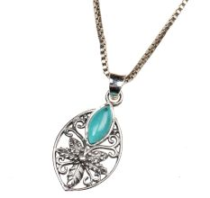92.5 Sterling Silver Pendant Jewelry Jali Design Turquoise Stone