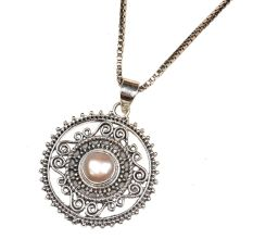 92.5 Sterling Silver Pearl in Round Engraved Pendant