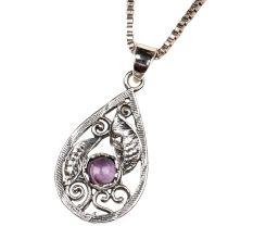 Purple Stone Teardrop 92.5 Sterling Silver Pendant Jewelry