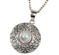 Round Grey Stone Engraved 92.5 Sterling S silver Pendant Jewelry