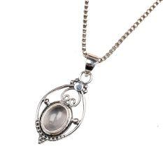 Semi precious Stone Embedded 925 Sterling Silver Pendant Jewelry
