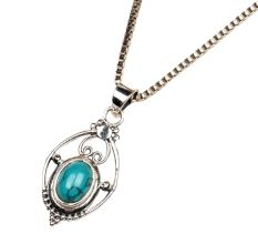 Oval Turquoise Stone Wired 92.5 Sterling Silver jewelry