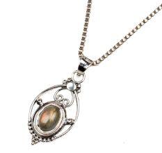 Golden Semi precious Engraved 92.5 Sterling Silver Pendant