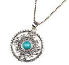 Round Engraved Blue Stone Sterling Silver Pendant