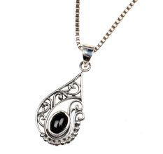 92.5 Sterling Silver Black Onyx Stylish Pendant Jewelry