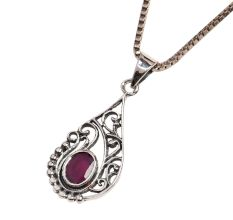 92.5 Sterling silver Pendant With Purple Amethyst Spiral Motifs